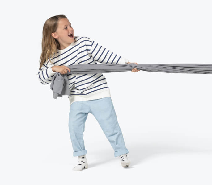 Girl Pulling Grey Sheet Mobile
