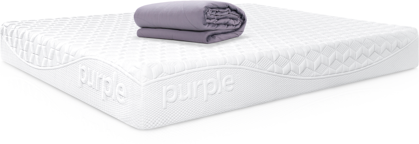 Mattress with gray, folded Purple blanket on top